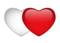 Glass Red And White Heart Royalty Free Stock Photo - 24519435