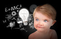 Young Science Education Baby On Black Royalty Free Stock Image - 24520576
