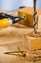 Drilling Hole In A Wooden Plank. Stock Image - 24548031