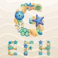 Vector Sea Life Font On Sand Background. Royalty Free Stock Photo - 24554525