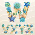 Vector Sea Life Font On Sand Background Stock Image - 24554751