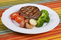 Barbecued Beef Steak Served With Vegetables 5 Stock Photo - 24557480