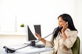 Executive On Phone And Looking To Documents Royalty Free Stock Photos - 24582438