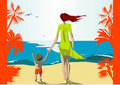 Mother And Son On Beach Royalty Free Stock Image - 2466536