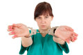 Frightened  Lady Doctor With Handcuffed Hands Royalty Free Stock Photo - 24602795