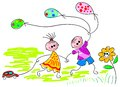 Playing Children With Baloons Royalty Free Stock Photo - 24620405