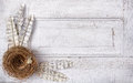 Paper Feathers And Nest On Antique Panel Stock Image - 24626751