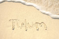 Tulum Written In Sand On Beach Royalty Free Stock Photography - 24641357