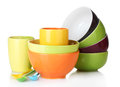 Bright Empty Bowls, Cups And Spoons Stock Photos - 24648553