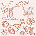 Summer Seaside Doodles Royalty Free Stock Images - 24664249