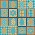 Patchwork Background With Eggs And Flowers Royalty Free Stock Image - 24666356