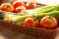 Tomatoes And Spring Onions Royalty Free Stock Images - 24686339