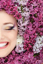 Woman Beautiful Face With Flower Lilac Royalty Free Stock Image - 24696436