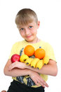 Child In Fruit Isolated Royalty Free Stock Photos - 24715348