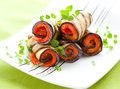 Aubergine Rolls  With Red Pepper Royalty Free Stock Photo - 24731495