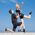Late Teenagers Dancing Outdoors Royalty Free Stock Photography - 24747467