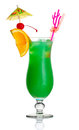 Green Alcohol Cocktail With Orange Slice Isolated Royalty Free Stock Image - 24774416