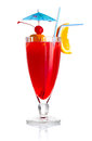 Red Alcohol Cocktail With Orange Slice Isolated Stock Image - 24774491