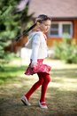 Pretty Kid Girl Dancing Outdoors Royalty Free Stock Image - 24777666