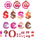 Sweet Punctuation Marks, Dollar Sign And Euro Royalty Free Stock Photography - 24786527