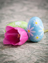 Spring Colorful Easter Eggs And Pink Tulip Royalty Free Stock Photos - 24793078