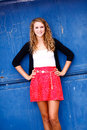 Pretty Teenage Girl Standing Hands On Hips Royalty Free Stock Photos - 24798158