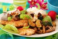 Grilled Chicken Breast With Zucchini And Mushrooms Stock Image - 24803471