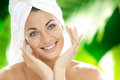 Happy Woman With Towel On Head Royalty Free Stock Photo - 24821245