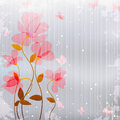 Vintage Pink Flowers With Butterfly Royalty Free Stock Photo - 24839545