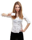 Woman Holds Out A Business Card Stock Images - 24842924