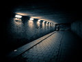 Woman Walking In A Dark Tunnel Stock Images - 24846014