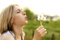Woman With Dandelion Royalty Free Stock Photo - 24857925
