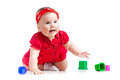 Funny Little Child Playing With Cup Toys Stock Photography - 24859982