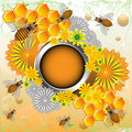 Frame With Bees And Flowers Royalty Free Stock Photo - 24879865