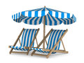 Two Deckchair And Parasol On White Background Royalty Free Stock Image - 24882056