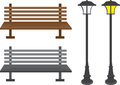 Bench And Light Posts Stock Image - 24883781
