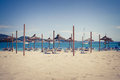 Beach Loungers And Umbrellas On The Beach Stock Images - 24898194