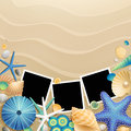 Pictures, Shells And Starfishes On Sand Background Stock Images - 24901284