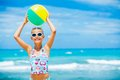 Girl With Ball On The Beach Stock Image - 24903611