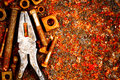 Old Tools On A Rusty Background Royalty Free Stock Photos - 24914018