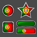 Collection Of Portugal Flag Icons Royalty Free Stock Image - 24935156