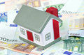 Toy House For Euro Banknotes As A Background Stock Images - 24961044