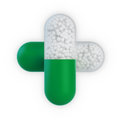 Two Capsules Forming A Cross Royalty Free Stock Photography - 24962967