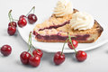 Piece Sweet Baked Cake With Cherry Stock Photography - 24977292
