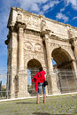 Tourist At Constantine Arch In Rome Royalty Free Stock Image - 24998556