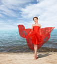 Sexy Young Woman In Long Red Dress Stock Photography - 25001242
