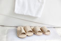 Slippers And Bath Towel By The Bathtub Royalty Free Stock Photos - 25010928