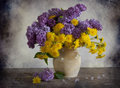 Bouquet Of Lilac And Dandelions Royalty Free Stock Image - 25012546