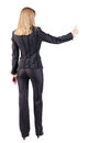 Back View Of Standing Young Blonde Business Woman Showing Thumb Stock Images - 25027474