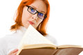 Beautiful Red-haired Girl In Glasses Reads Book. Stock Photo - 25037870
